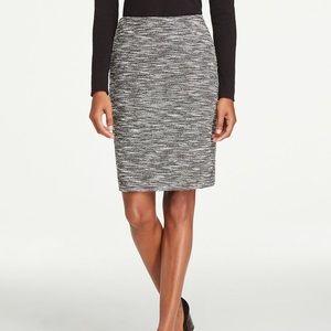 Ann Taylor Black Shimmer Tweed Pencil Skirt